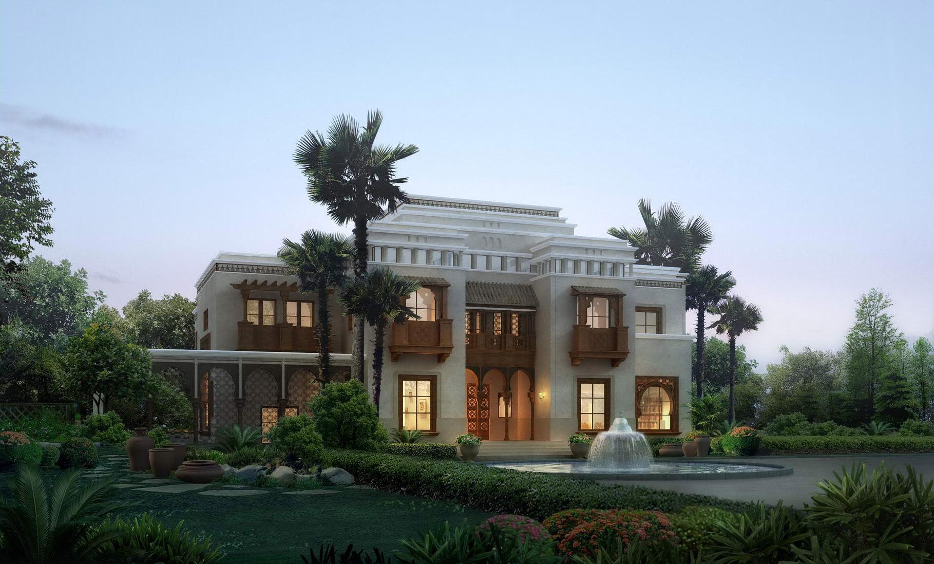 Luxury Villa with Palm Tree | 3D model
