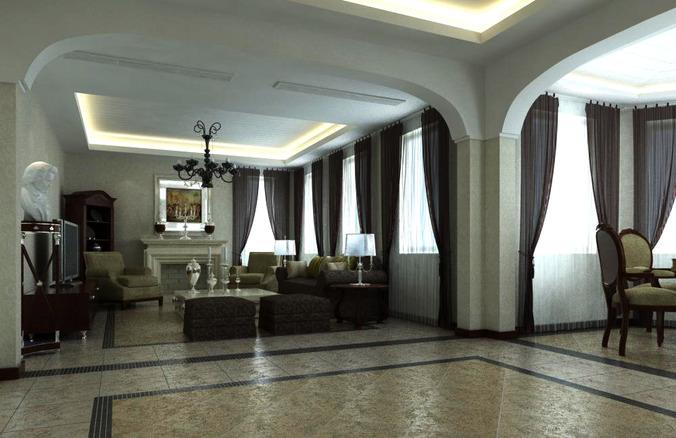 high end living room. High end Living Room Interior with Sculpture 3D model MAX