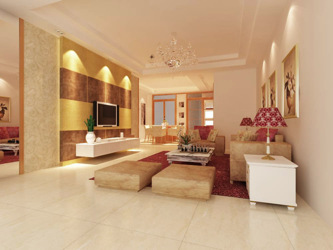 High End Living Room Interior With Posh Lights 3D Model MAX