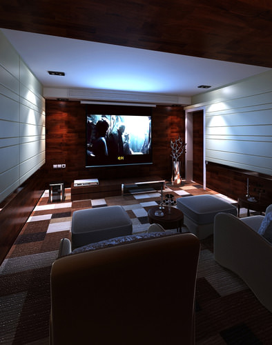 Home theater interior 3d model max Home 3d model