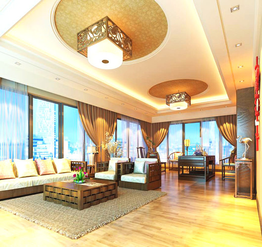 Grand living room interior with chandeliers 3d model max for Grand designs 3d renovation interior