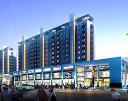modern shopping mall with building complex 3d model