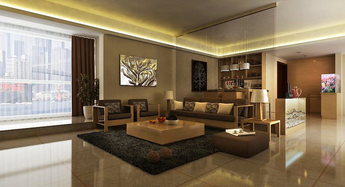 Drawing room interior with carpet 3d model cgtrader for 3d bedroom drawing