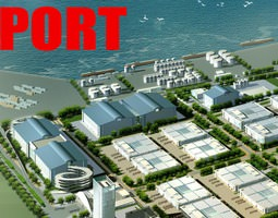 Port With Ships Terminal and Buildings 3D