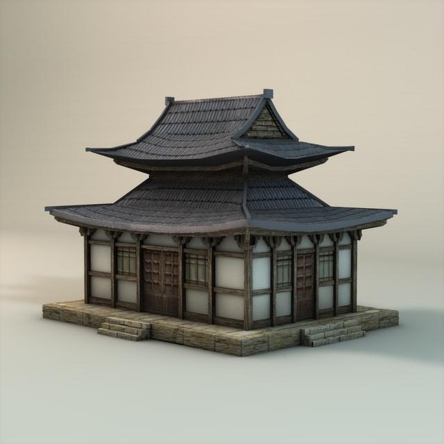 Asian Temple 3d Model Low Poly Max Obj 3ds Fbx C4d 3