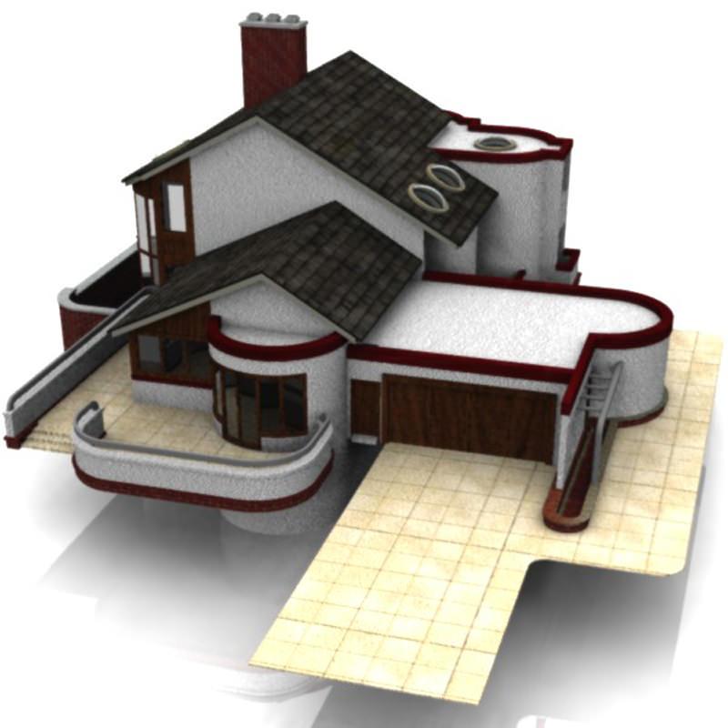modern house 2 poser vue 3d model vue pz3 pp2. Black Bedroom Furniture Sets. Home Design Ideas
