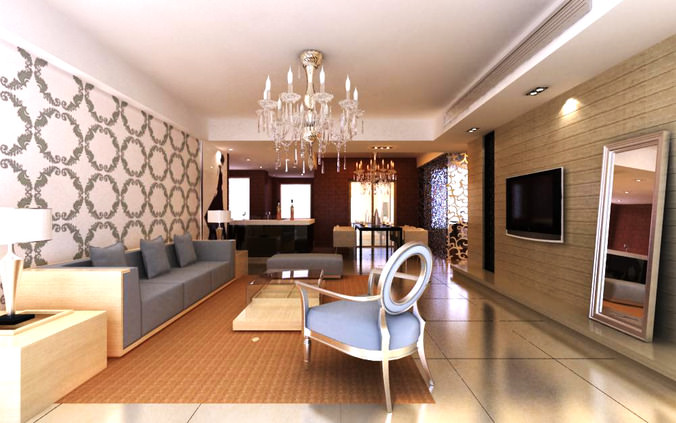 3d model living hall interior with chandelier cgtrader for Living hall interior