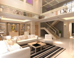 elite living room interior with staircase 3d
