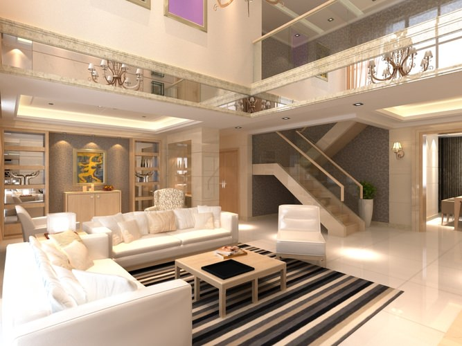 Elite living room interior with staircase 3d model max for Living models