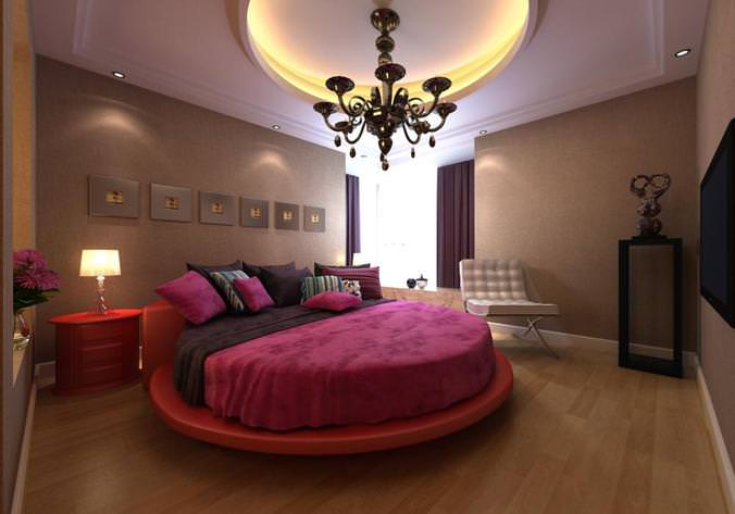 Modern bedroom interior with round bed 3d cgtrader for Bedroom designs 3d model
