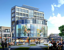 modern shopping mall with exotic exterior 3d