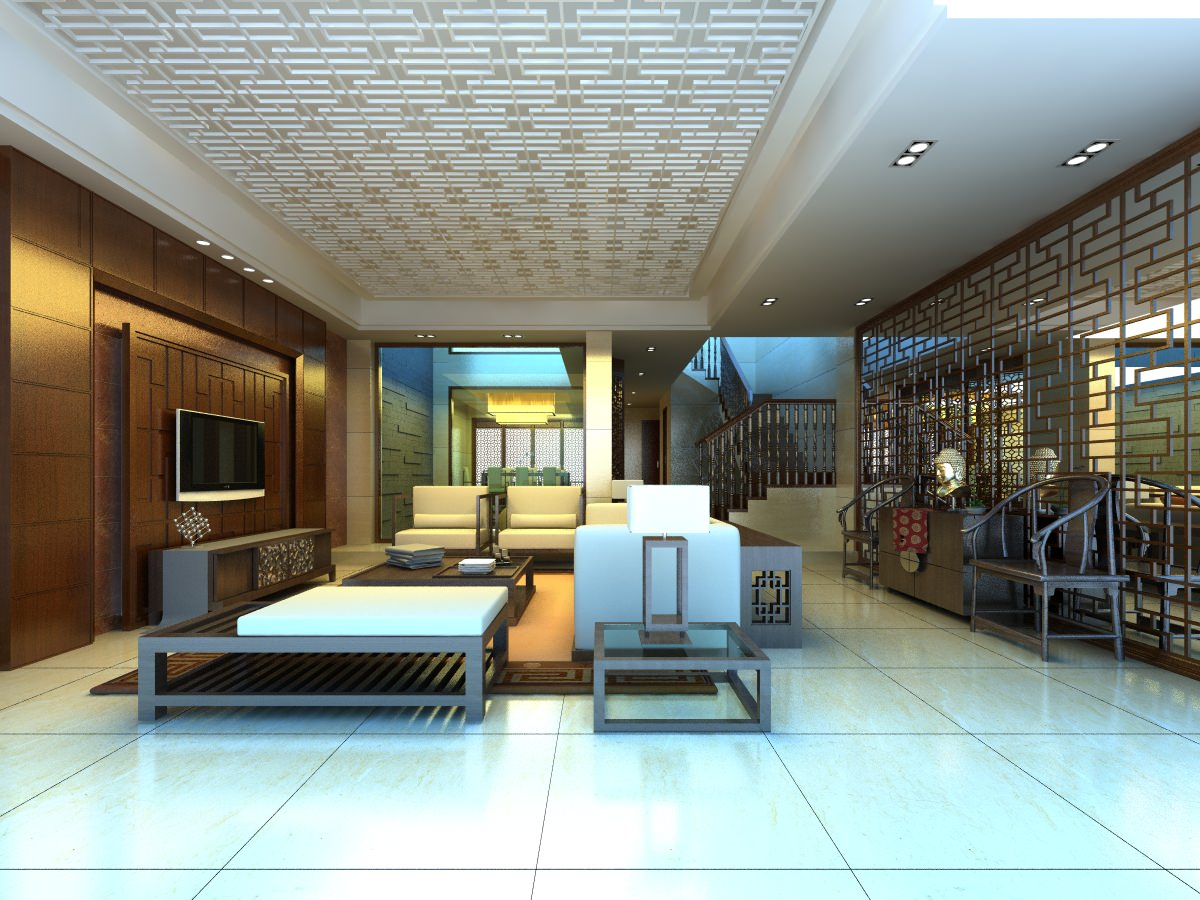 Modern living hall interior with furniture 3d model max for Living hall interior