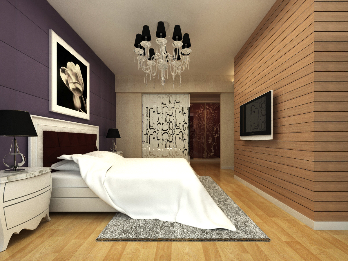 Modern Bedroom Pictures With Tv modern bedroom interior with tv 3d model | cgtrader