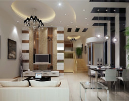 3D Posh Drawing Room Interior with TV