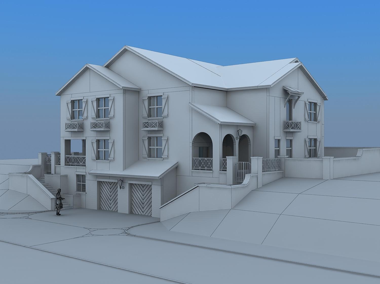 Villa house 3d model max for Minimalist house 3d max