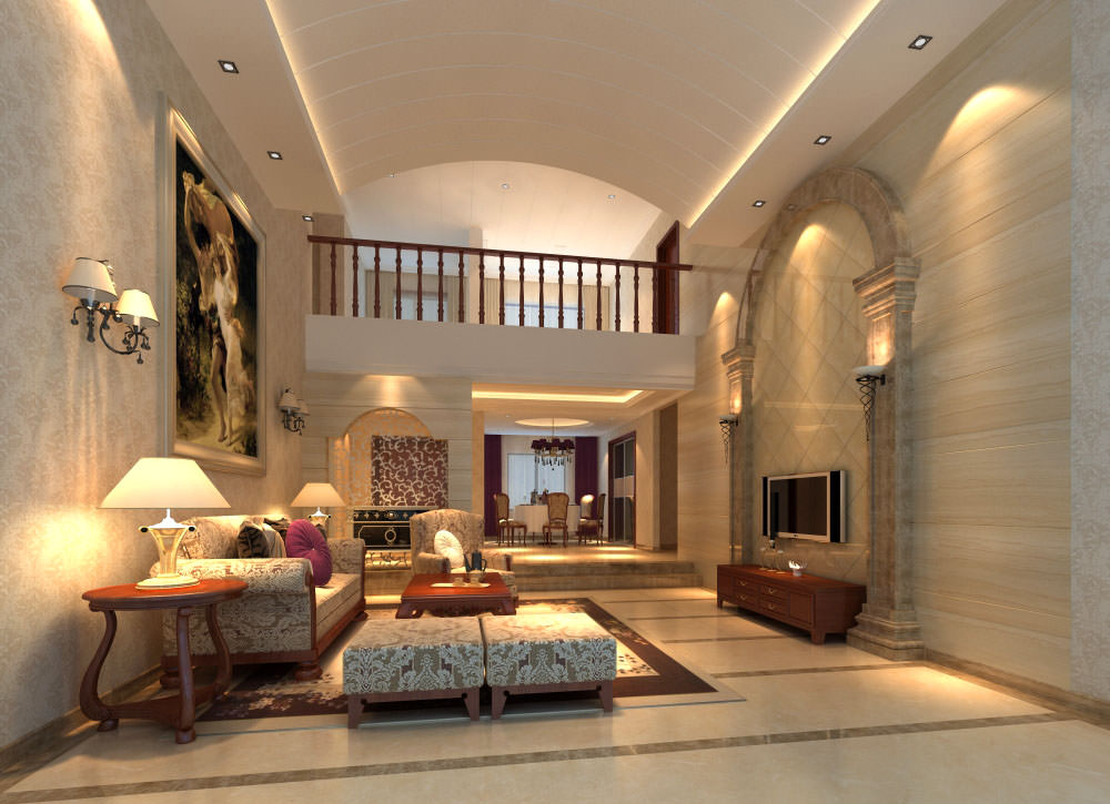 Fancy Living Room Interior With Posh Rug 3d Model Max 1