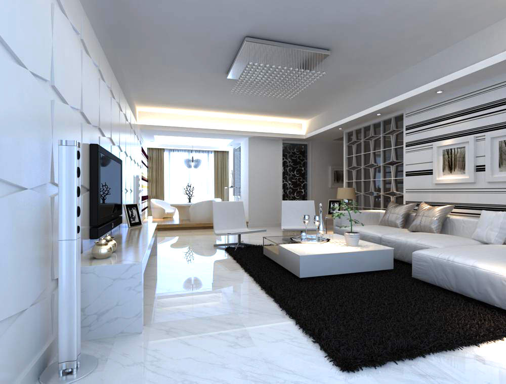Fancy living room interior with carpet 3d model max for Model interior design living room