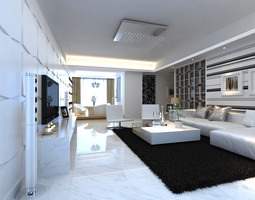 3D Fancy Living Room Interior with Carpet