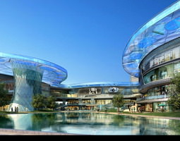 3d exquisite hotel building with water decor
