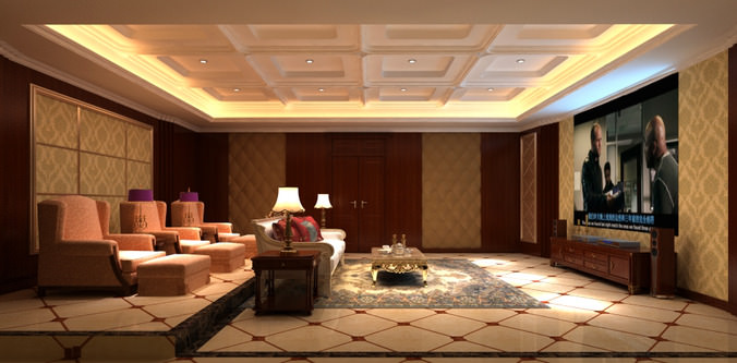 Elite living hall interior with carpet 3d model cgtrader for Living hall interior