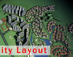 3d urban designed commercial and residential area