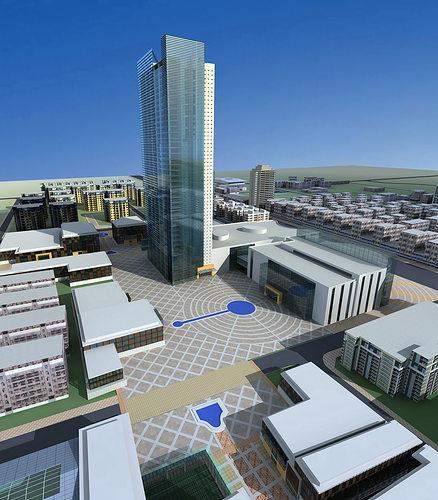 urban designed posh town with skyscraper 3d model max 3ds 1