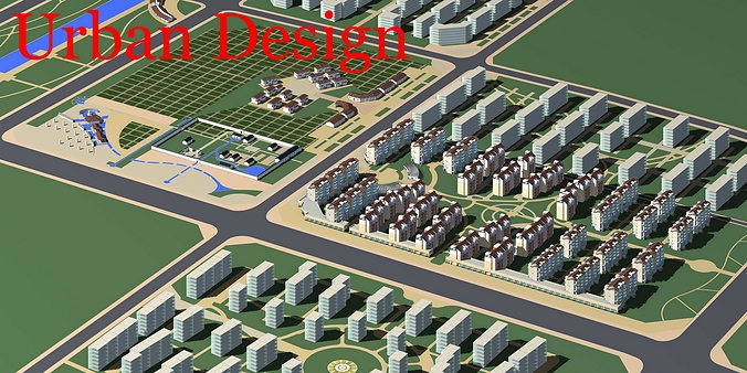 urban designed posh town 3d model max 3ds 1