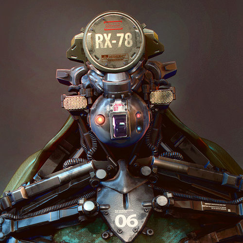 robot bust  3d model max obj mtl 1