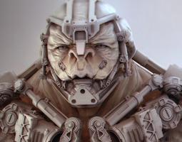 3D model cyborg bust