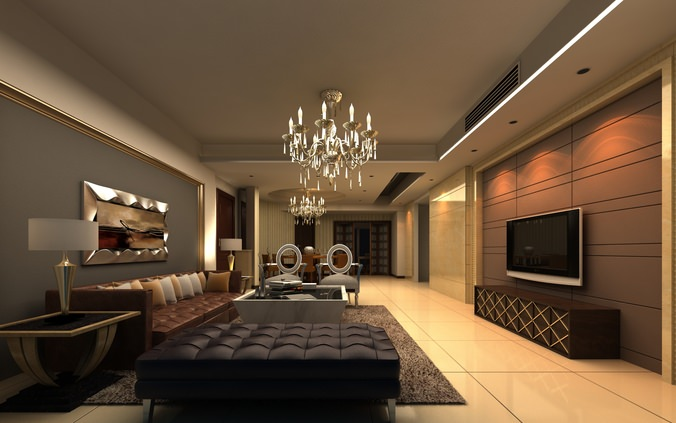 elite living room interior with sofa 3d model max 1