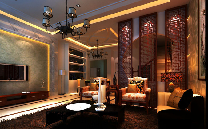 eminent home drawing room with lamp 3d model max 1