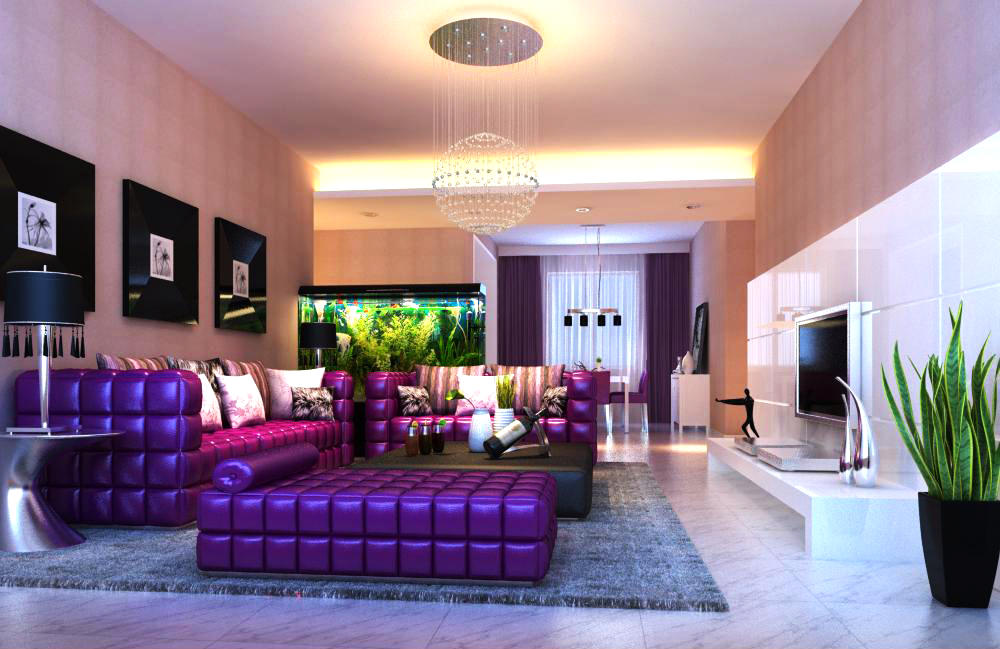 Spacious Living Room With Purple Couch 3d Model Max 1