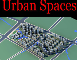 urban city design with office buildings 3d