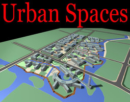 urban designed city with lake and buildings 3d model