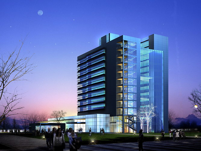 posh building with glass outline 3d model max 3ds 1