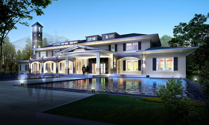 elite mansion with swimming pool 3d model max 3ds 1
