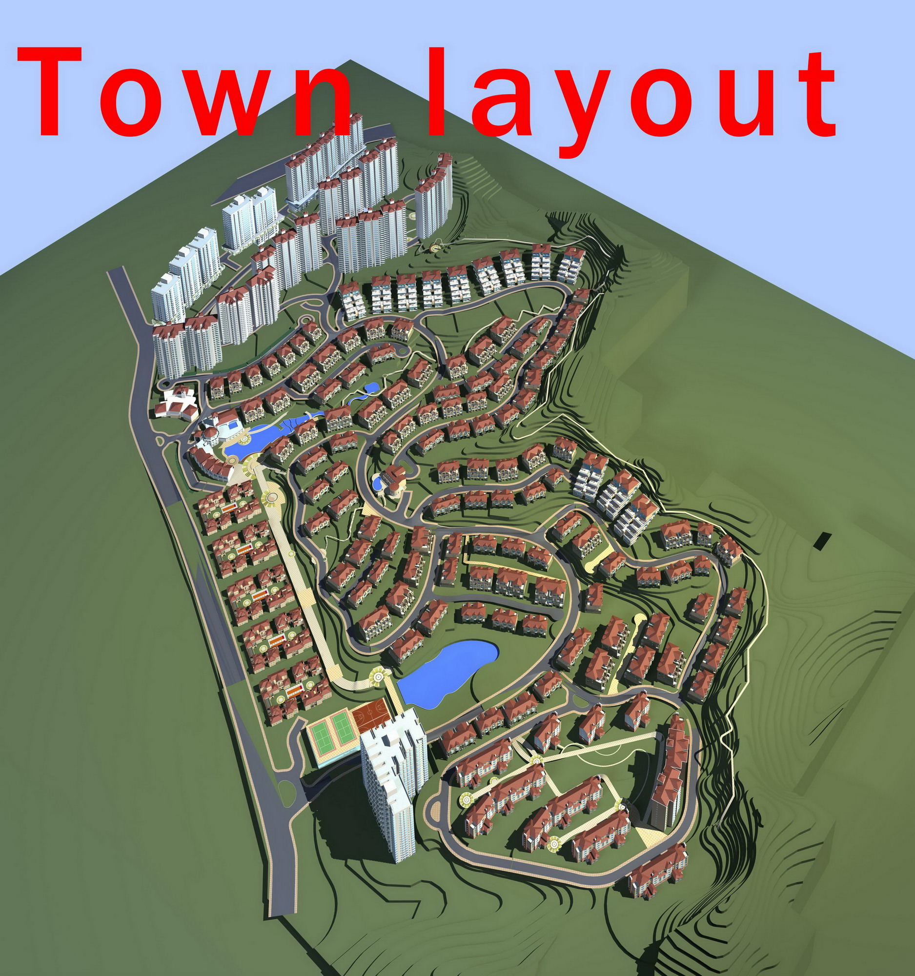 Commercial Vehicle Definition >> 3D model Town Layout with Buildings | CGTrader