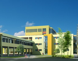 Large School Building Design 3D