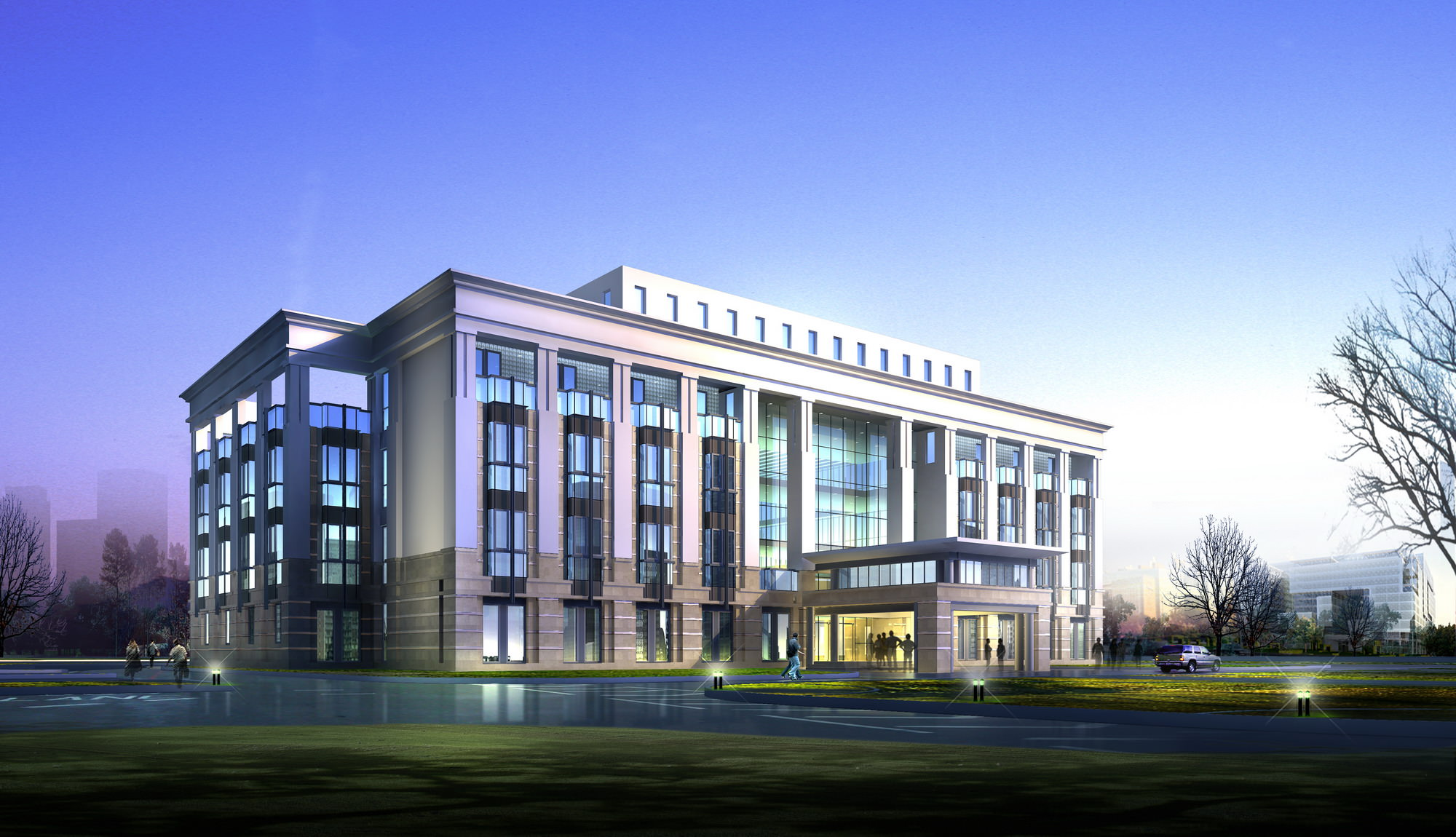Luxury office building design 3d model max 3ds for Luxury office design