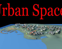 urban city design with houses 3d model
