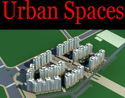 urban city design with multiple tall buildings 3d model