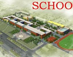3d model school building design with playground