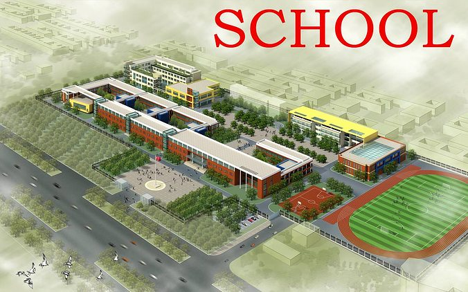 School Building Design With Playground 3d Model