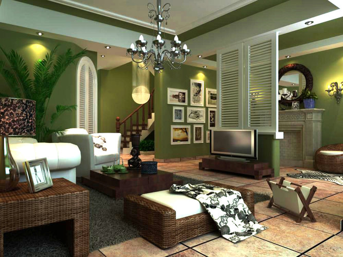 luxury drawing room with ritzy interior 3d model max 1