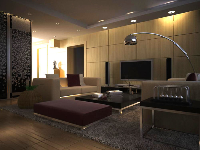 Eminent Living Room With Elite Home Theater 3d Model