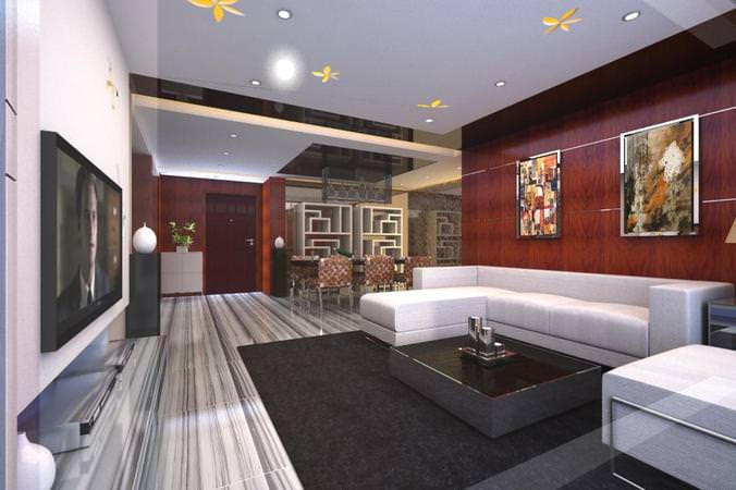 eminent drawing room with high-end rug 3d model max 1