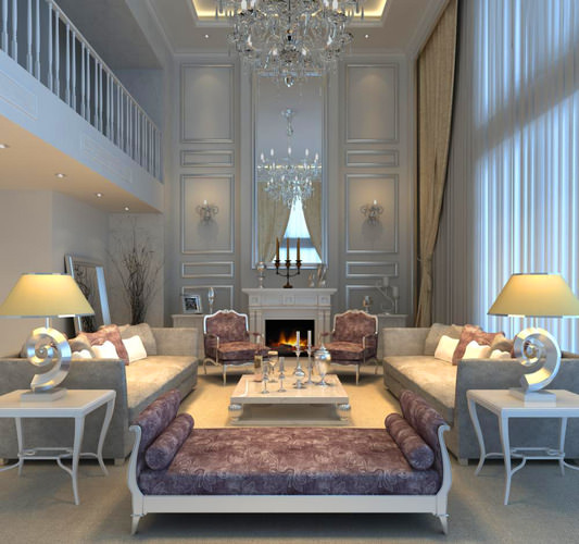living room with designer sectional sofas 3d model max 1
