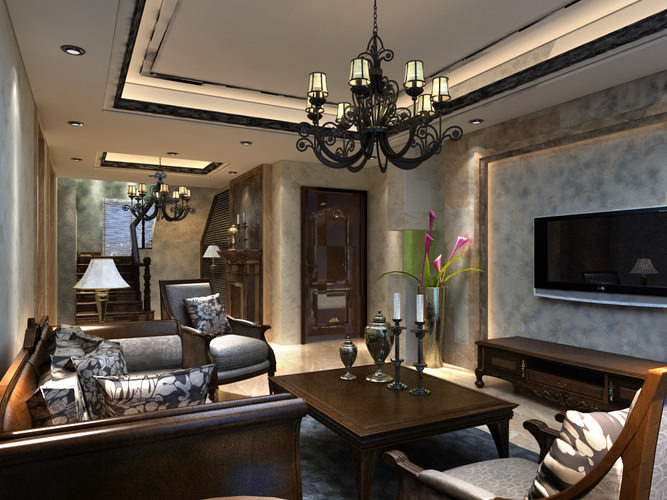 eminent drawing room with high-end channdelier 3d model max 1