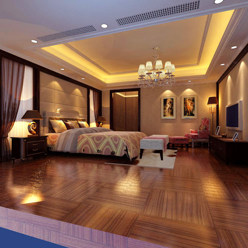 3d Bedroom With Florid Bed Sheet Cgtrader
