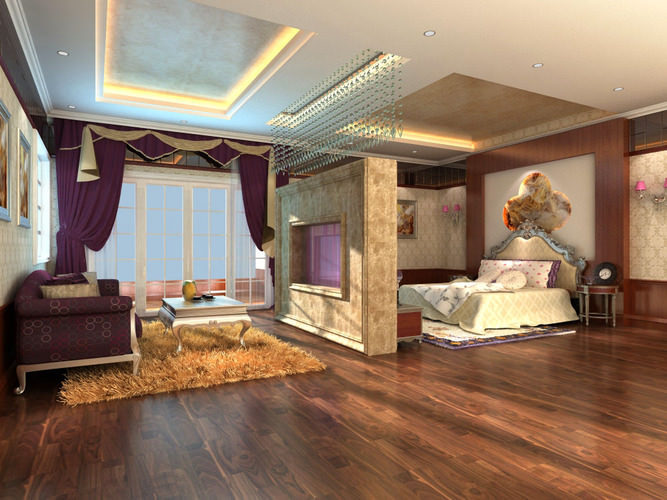 3d Model Luxury Bedroom Cum Living Room With Rug